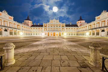 Royal Palace of Aranjuez, main court at night. Community of Madrid, Spain
