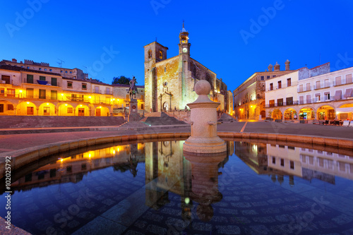 Main square of Trujillo at twilight. Trujillo is a medieval village in the province of Caceres, Spain
