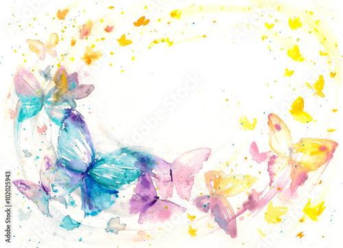 Piękny akwarela motyl na białego papieru tle.