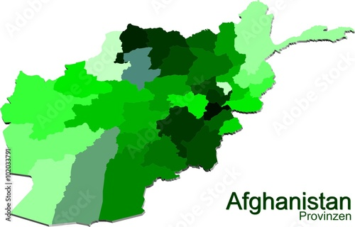 A Map of Afghanistan and provinces in Green @p(AS)ob