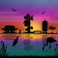 Beautiful Asian Landscape Near Water On Sunset, Vector Illustration