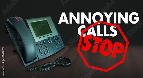 Valokuva  Stop Annoying Telemarketing Sales Calls Words
