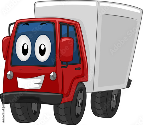 Foto op Canvas Cars Mascot Delivery Truck