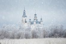 Christian Monastery Landscape Winter Snow Christmas Religion