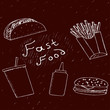 Fast food illustration in hand drawn style.