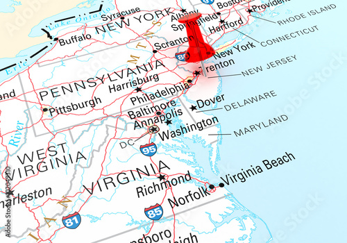 Red Thumbtack Over New Jersey State USA Map – kaufen Sie se ... on