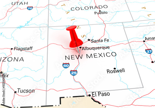 Red Thumbtack Over New Mexico State USA Map – kaufen Sie ...