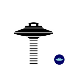 Alien UFO Ship Simple Black Si...