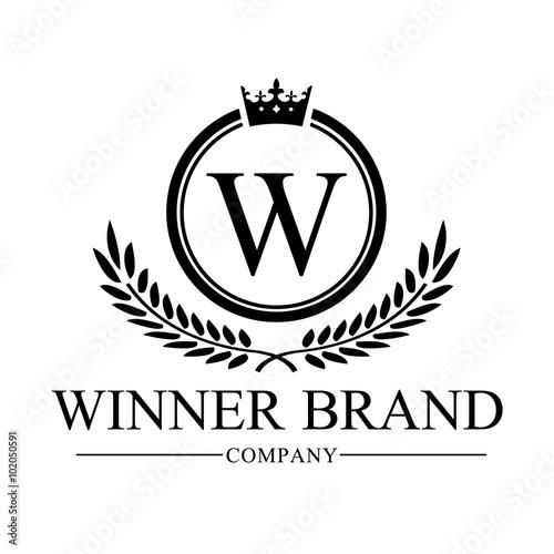 winner brand w letter logo crest logo luxury brand identity vector