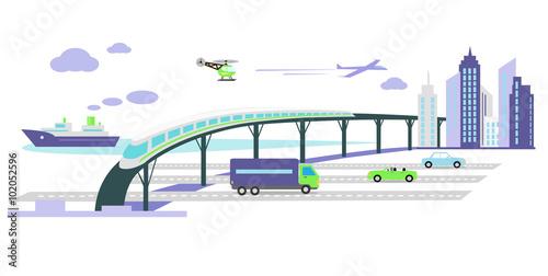 Fotografía  Development of Transport Infrastructure Icon Flat