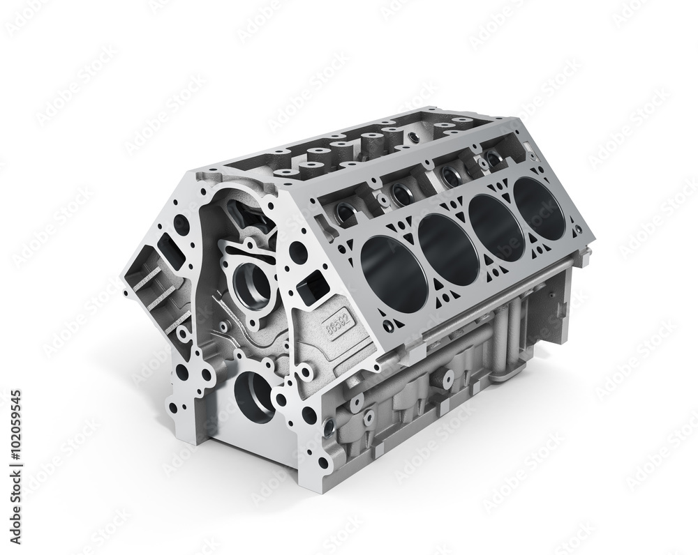 Fototapeta 3d render of cylinder block from strong car with V8 engine isola