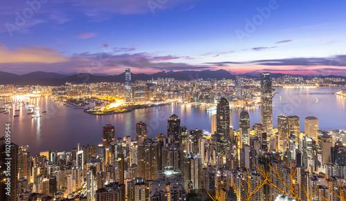 Garden Poster Beautiful morning HONG KONG - AUGUST 02, 2015: The peak Hong Kong skyline cityscap