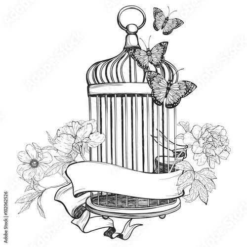 Fényképezés  Birdcage wih ribbon, flowers and butterfly