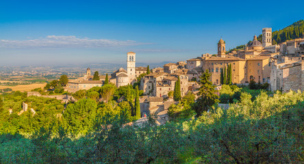Historic town of Assisi at sunrise, Umbria, Italy
