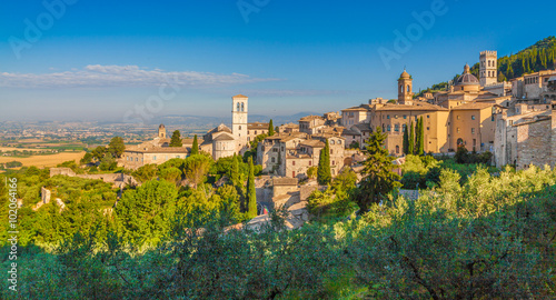 Historic town of Assisi at sunrise, Umbria, Italy Wallpaper Mural