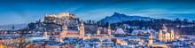 Salzburg Winter Panorama At Christmas Time, Austria