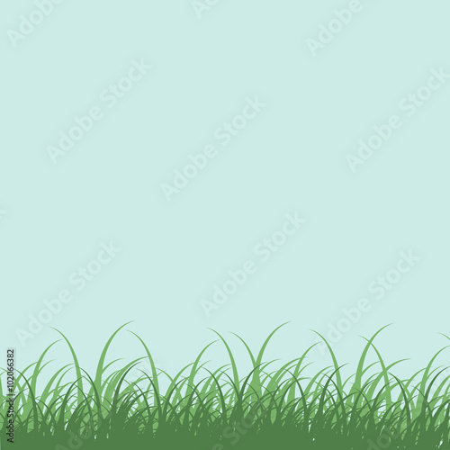 Photo sur Toile Bleu clair Landscape with blue sky and green grass
