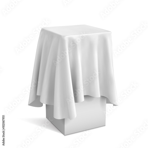 Fotografie, Obraz  Presentation pedestal covered with a white cloth