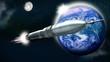 Rakete im Weltall mit Erde und Mond