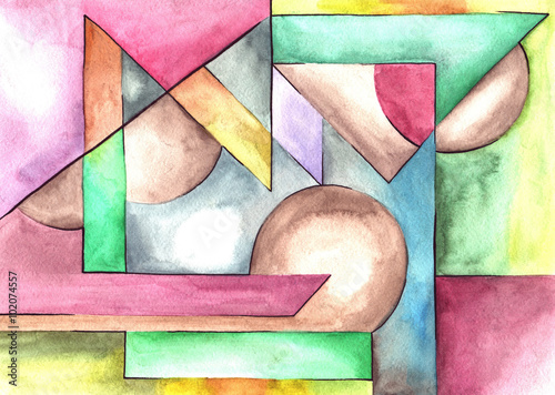 Abstract Art Design With Different Shapes And Lines Buy