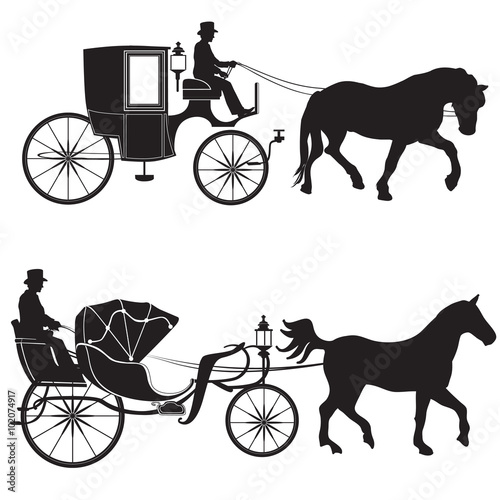 Photo Carriage with horse. Hansom-cab set.