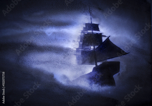 In de dag Schip sailing ship in a storm