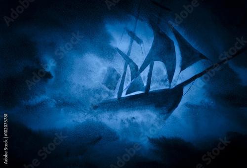 In de dag Schip a ship in a storm