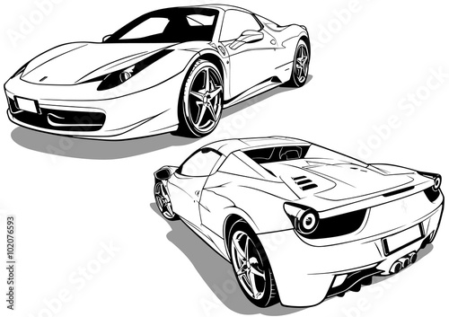 Sport Car from Front View and Back View - Black and White Illustration, Vector