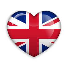 Love United Kingdom.  Flag Heart Glossy Button