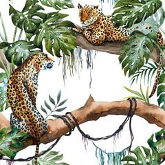 FototapetaWatercolor raster leopard pattern