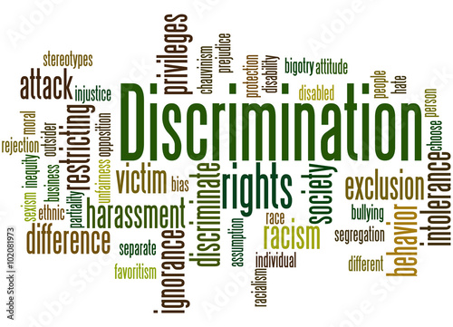 Discrimination, word cloud concept 3 Canvas-taulu