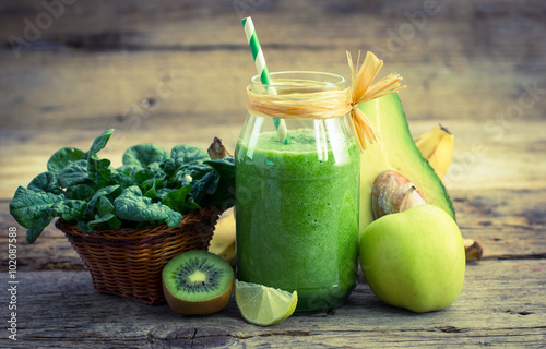 Fresh and healthy green smoothie