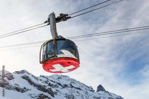 Tuinposter Gondolas Views from the ski resort Engelberg, Switzerland