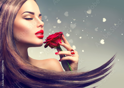 Poster - Beauty fashion model woman with red rose flower