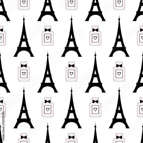 Cotton fabric Cute cartoon tour Eiffel with perfume vector illustration. Paris symbols seamless pattern. Romantic travel in Paris.