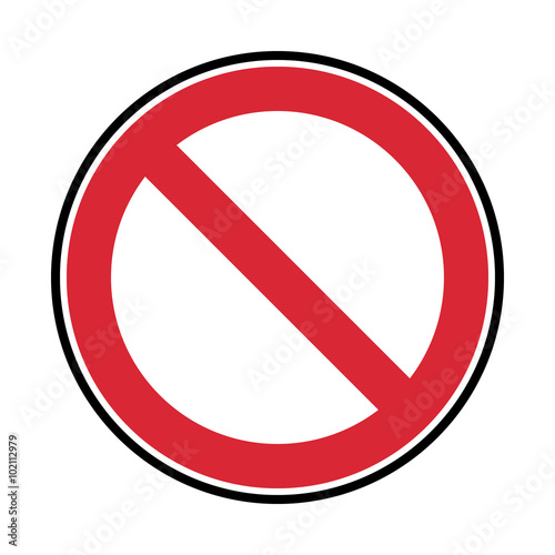 Fotografía  vector prohibited symbol, red and black sign isolated on white