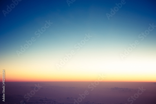 Fotografia 飛行機から見た朝焼け,雲海,