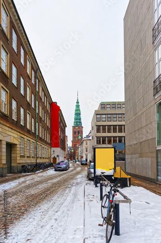Photo  View on Former St Nicholas church in Copenhagen in winter