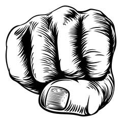 Fototapeta Sztuki walki Woodcut Etching Fist Hand