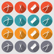 Tool icons set. Pliers, gloves, tongs, scissors. Repair fix symbols. Round red, orange, turquoise, gray colored circle flat signs with long shadow. Vector