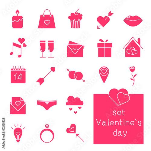 Foto op Aluminium Pixel Web icons set. Valentine`s day. Vector