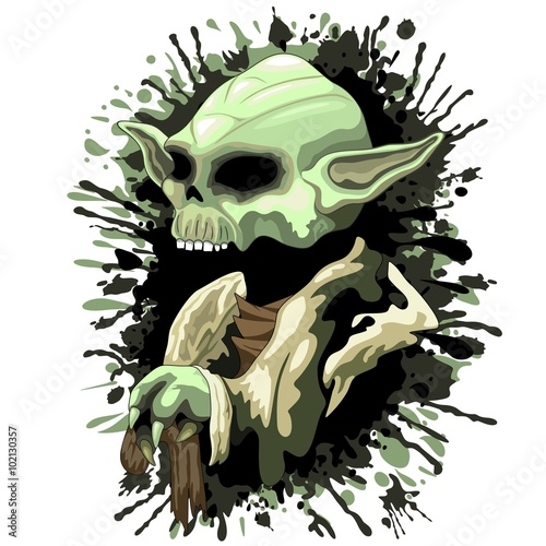 Staande foto Draw Skull Yoda Jedi Master
