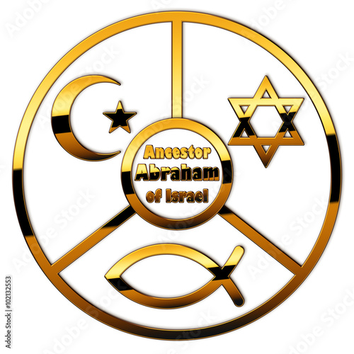 Plakat A circle with Abraham and symbols of Judaism, Islam and Christianity