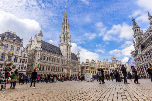 Spoed Foto op Canvas Brussel Grand place in summer Brussels,Belgium