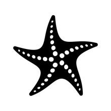 Black Vector Simple Starfish I...