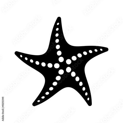 Fototapeta Black vector simple starfish icon