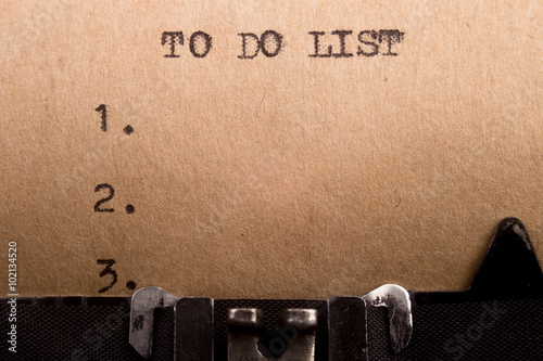 Photo  To do list typed on the typewriter