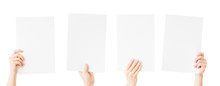 Hands Holding Blank Paper Isol...