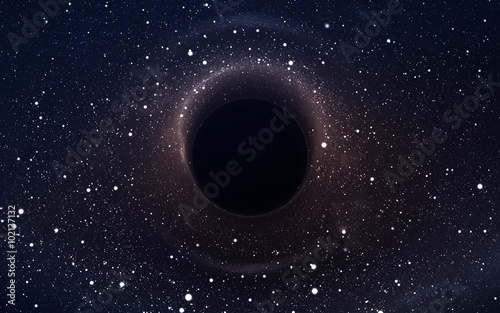 Fotografie, Obraz Black hole in deep space, glowing mysterious universe
