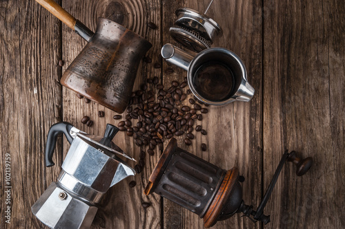 Poster Café en grains Accessories for coffee on the wooden table